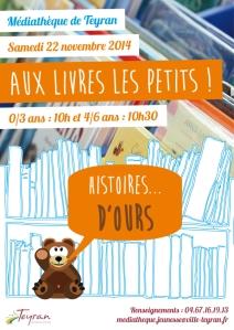 Aux livres les petits ! Histoires...d'ours , Samedi 22 novembre 2014, médiathèque Teyran