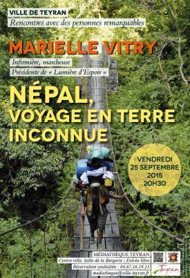 NEPAL, VOYAGE EN TERRE INCONNUE, avec Marielle VITRY, Médiathèque Teyran